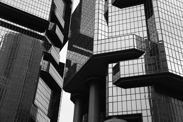 Black and White Office Building